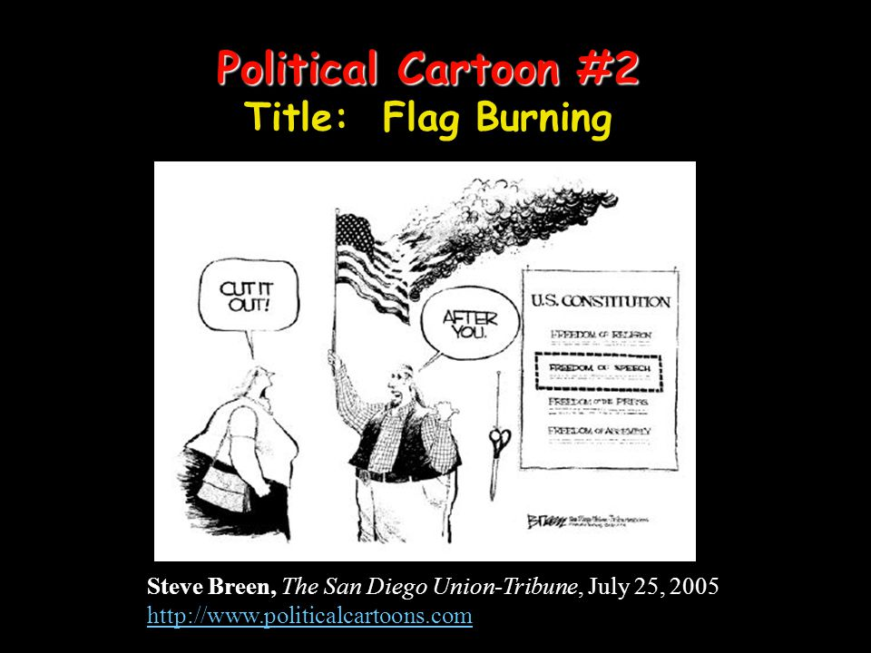 Political Cartoon #2 Title: Flag Burning