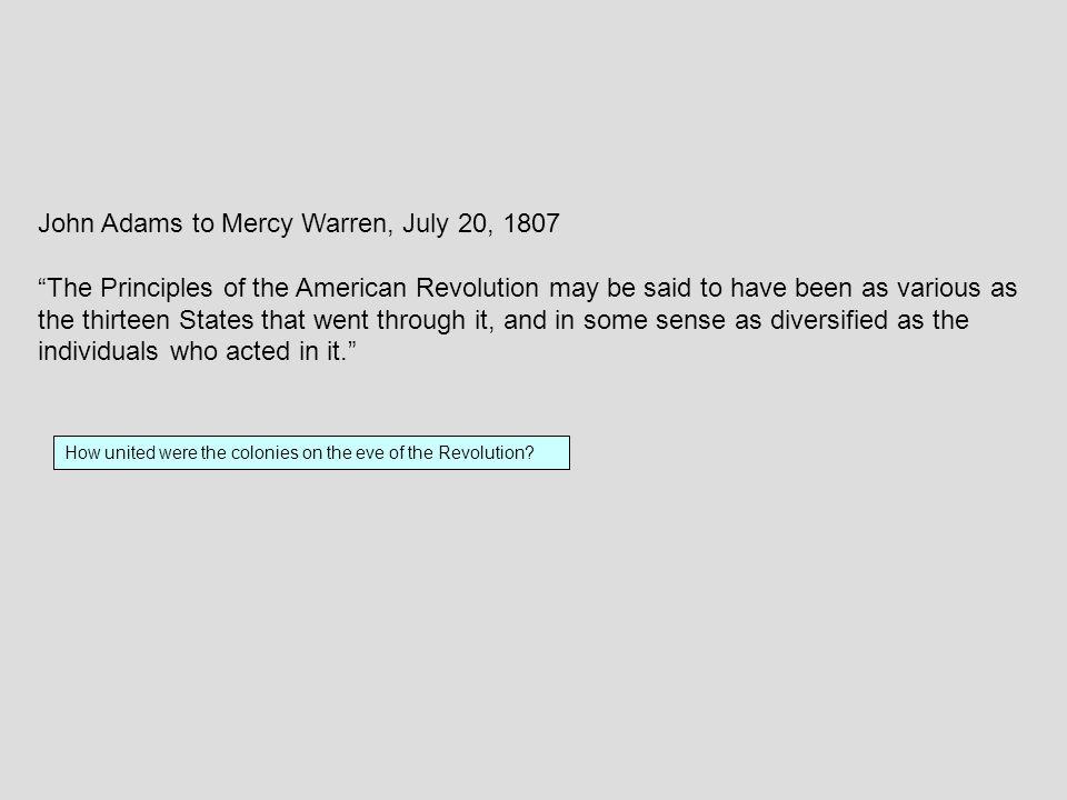 John Adams to Mercy Warren, July 20, 1807