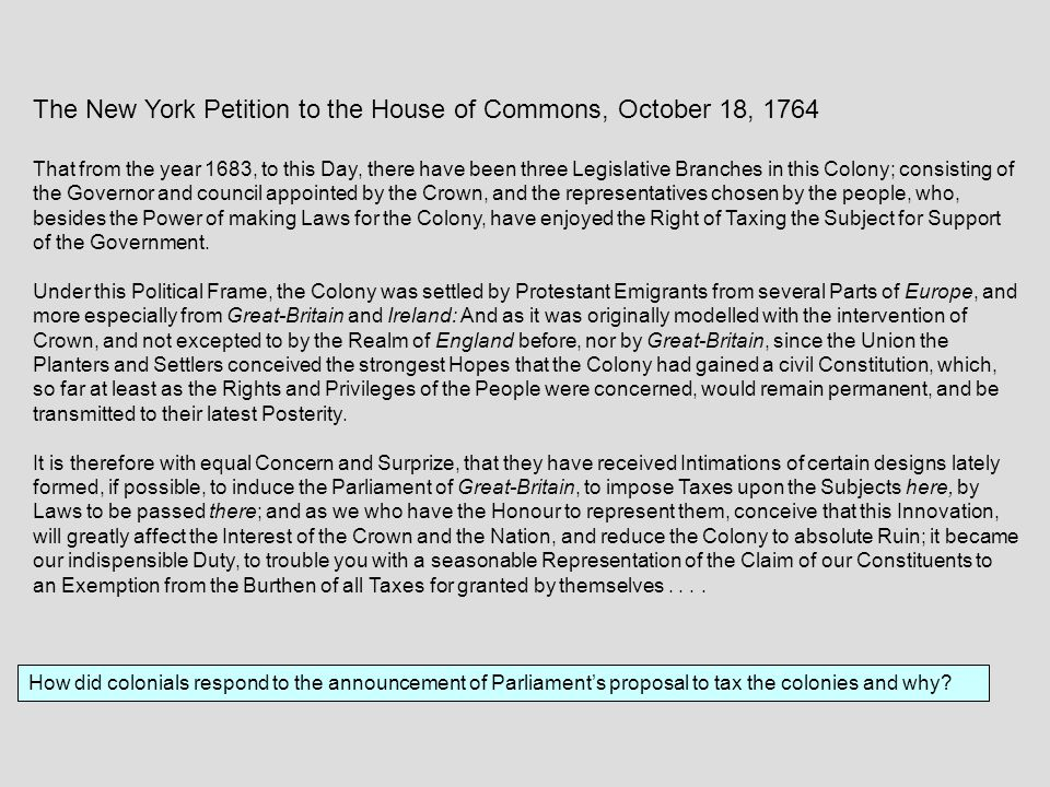 The New York Petition to the House of Commons, October 18, 1764