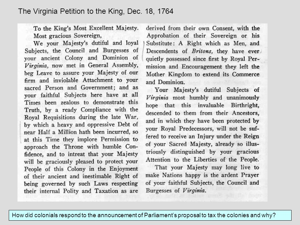 The Virginia Petition to the King, Dec. 18, 1764
