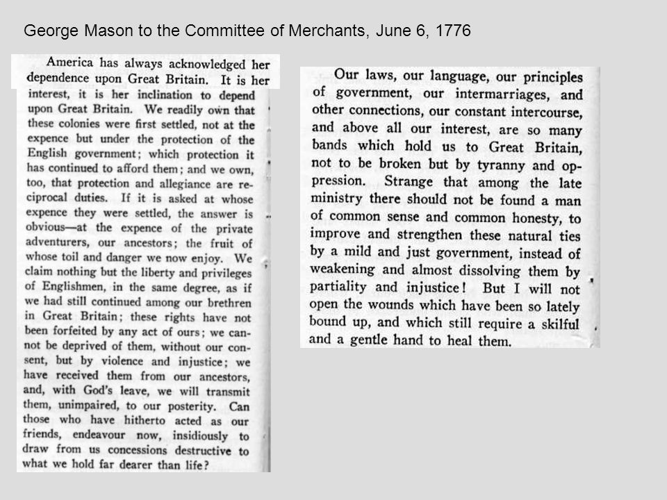 George Mason to the Committee of Merchants, June 6, 1776
