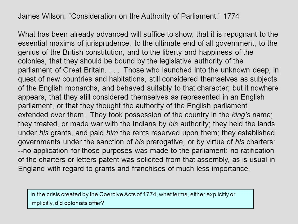 James Wilson, Consideration on the Authority of Parliament, 1774