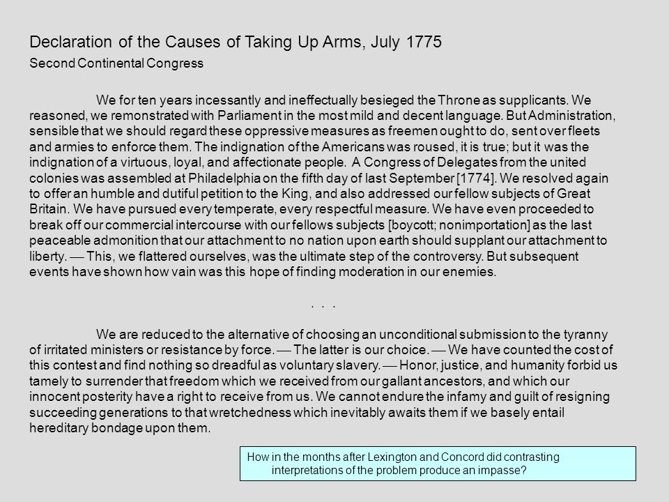 Declaration of the Causes of Taking Up Arms, July 1775