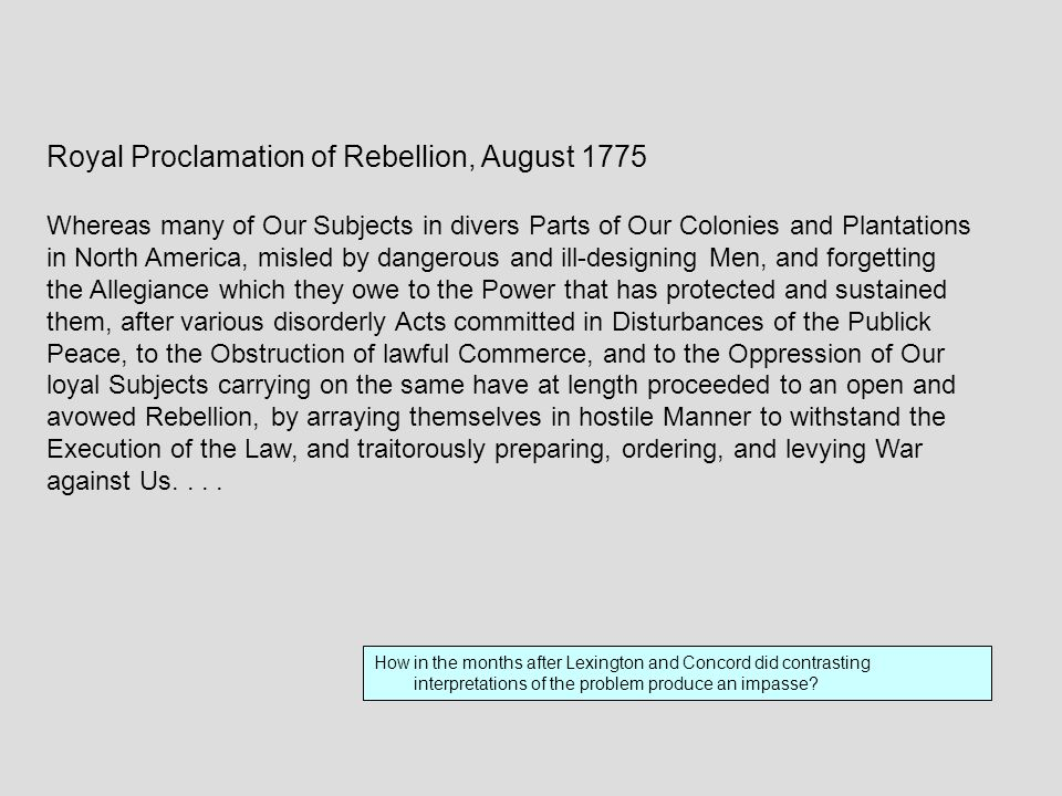 Royal Proclamation of Rebellion, August 1775
