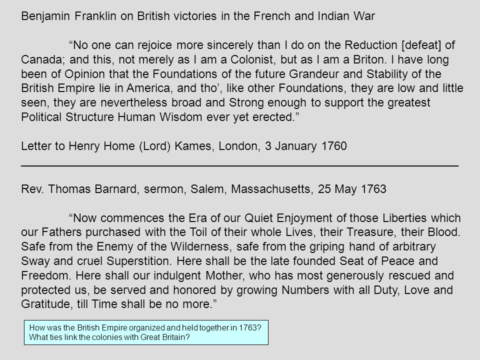 Benjamin Franklin on British victories in the French and Indian War