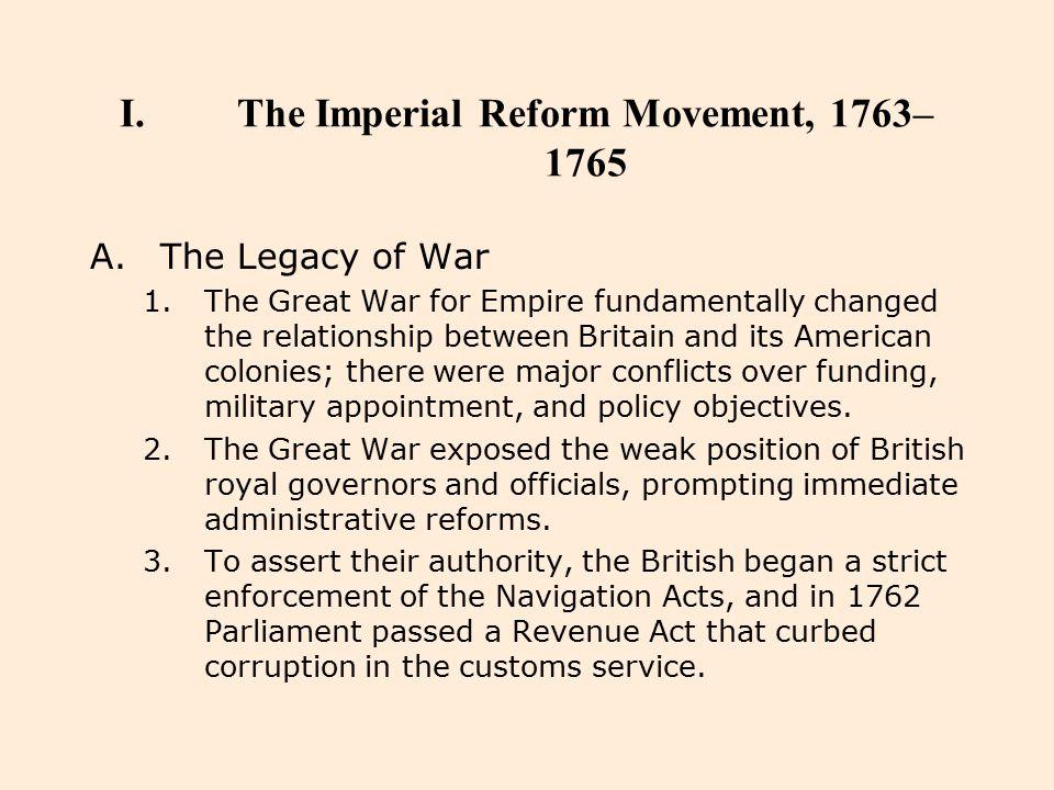 The Imperial Reform Movement, 1763–1765