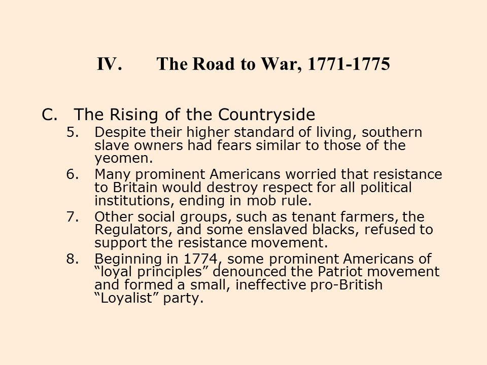 The Road to War, 1771-1775 The Rising of the Countryside