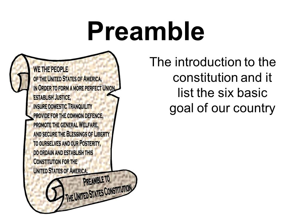 Preamble The introduction to the constitution and it list the six basic goal of our country