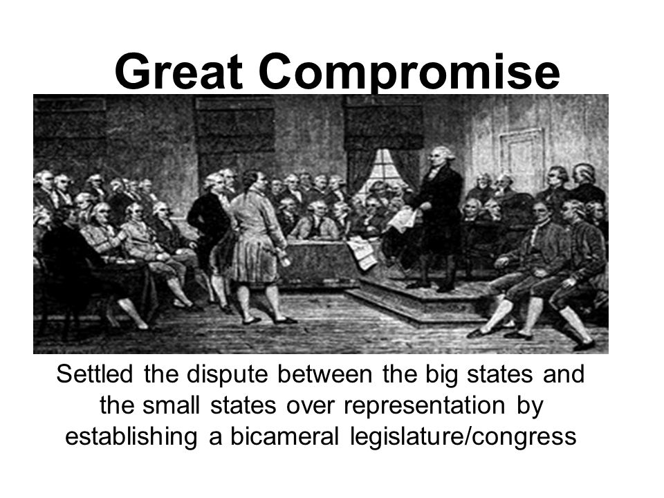 Great Compromise Settled the dispute between the big states and the small states over representation by establishing a bicameral legislature/congress.