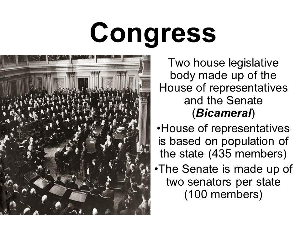 The Senate is made up of two senators per state (100 members)