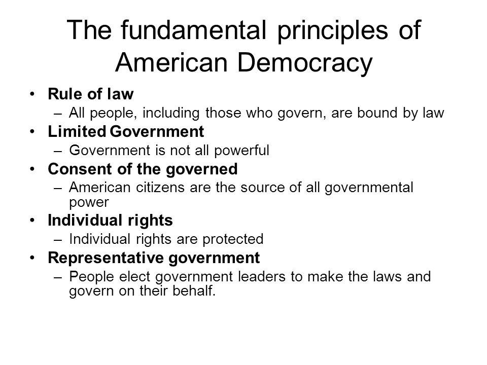 The fundamental principles of American Democracy