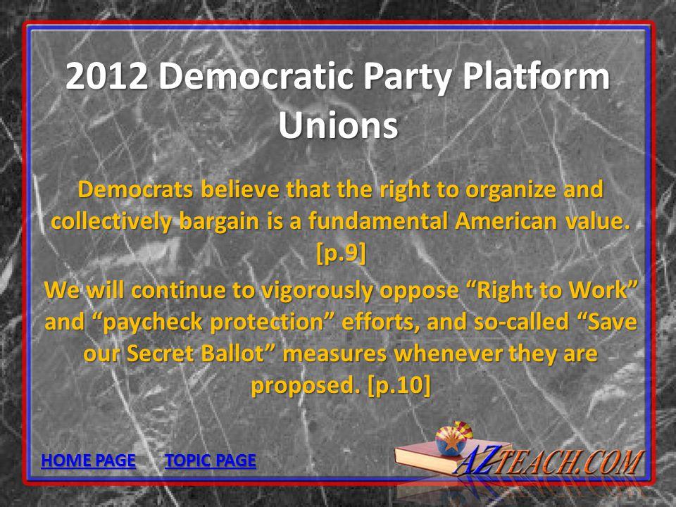 2012 Democratic Party Platform Unions