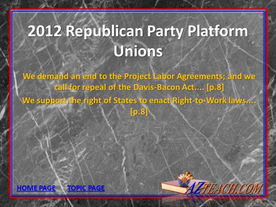 2012 Republican Party Platform Unions