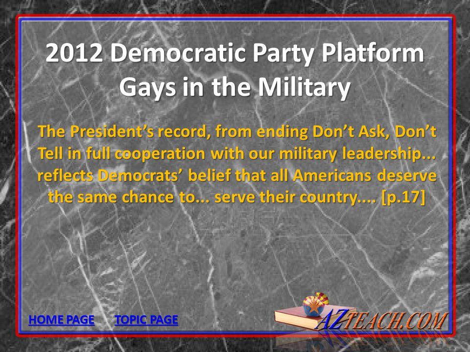 2012 Democratic Party Platform Gays in the Military