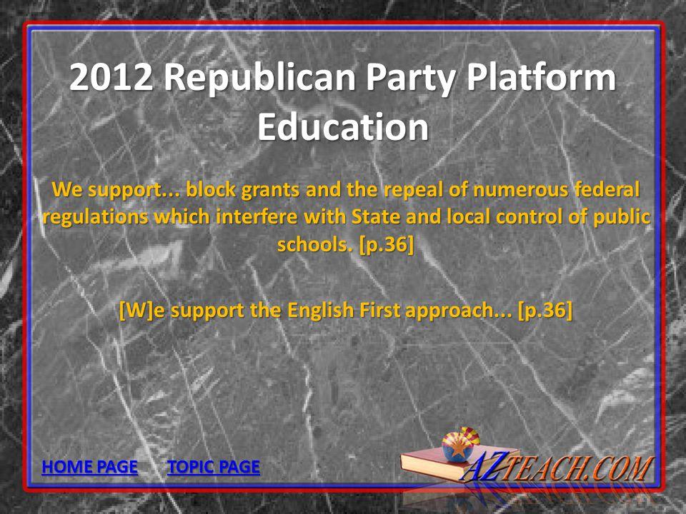 2012 Republican Party Platform Education