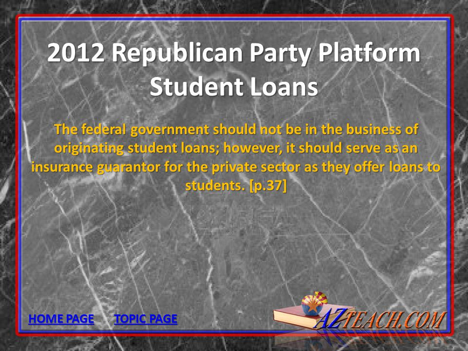 2012 Republican Party Platform Student Loans
