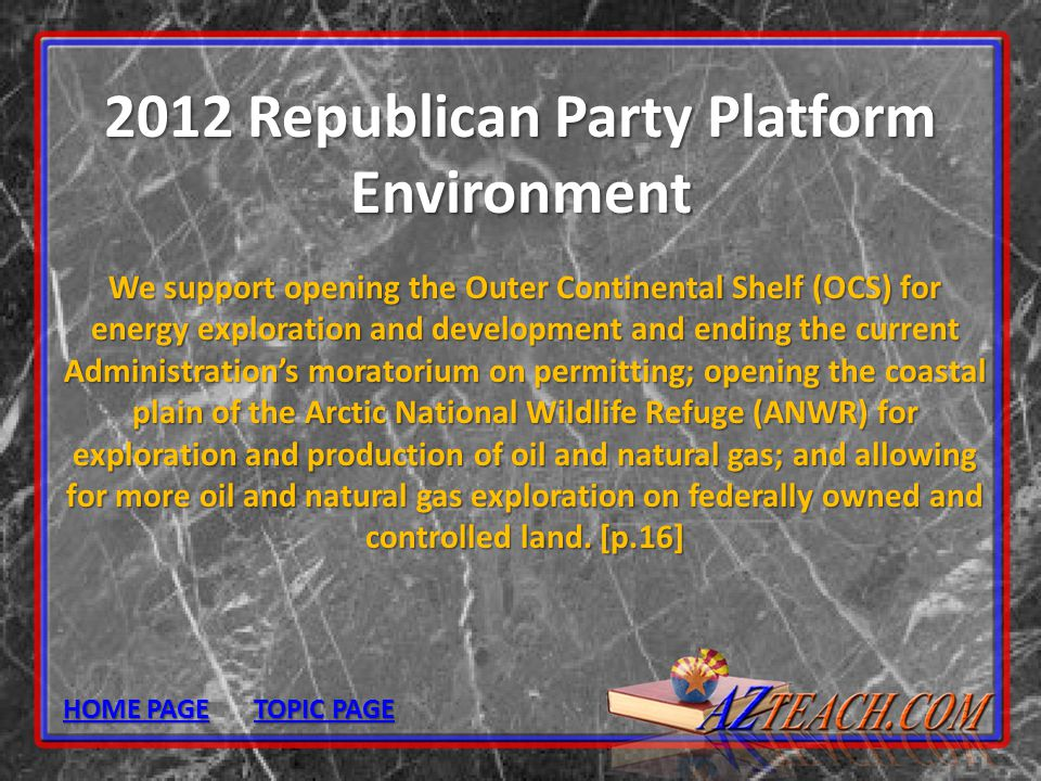 2012 Republican Party Platform Environment