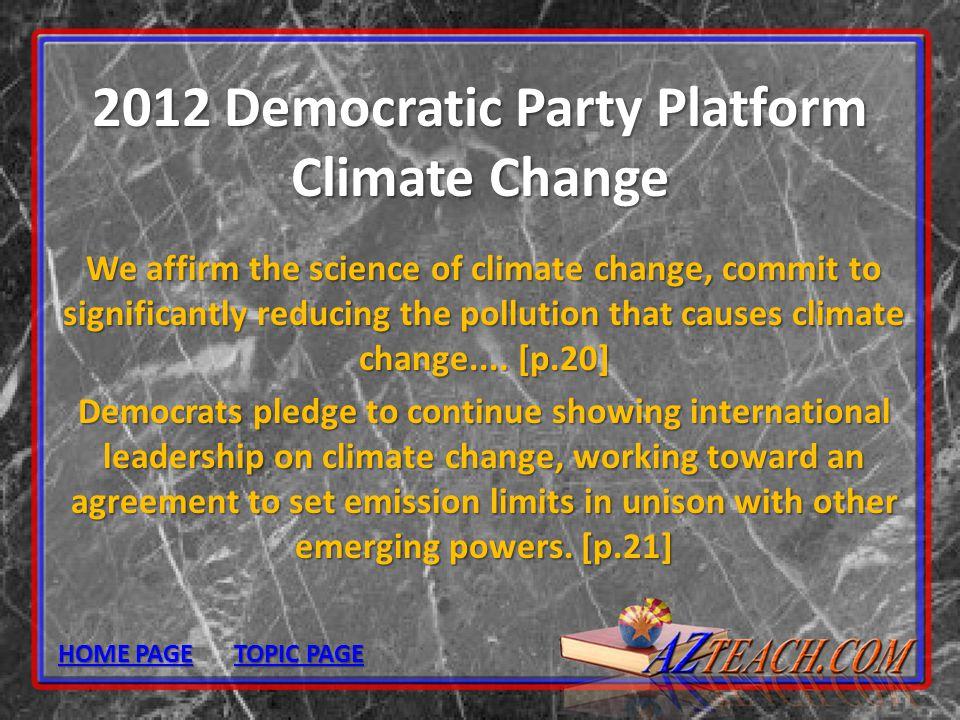 2012 Democratic Party Platform Climate Change