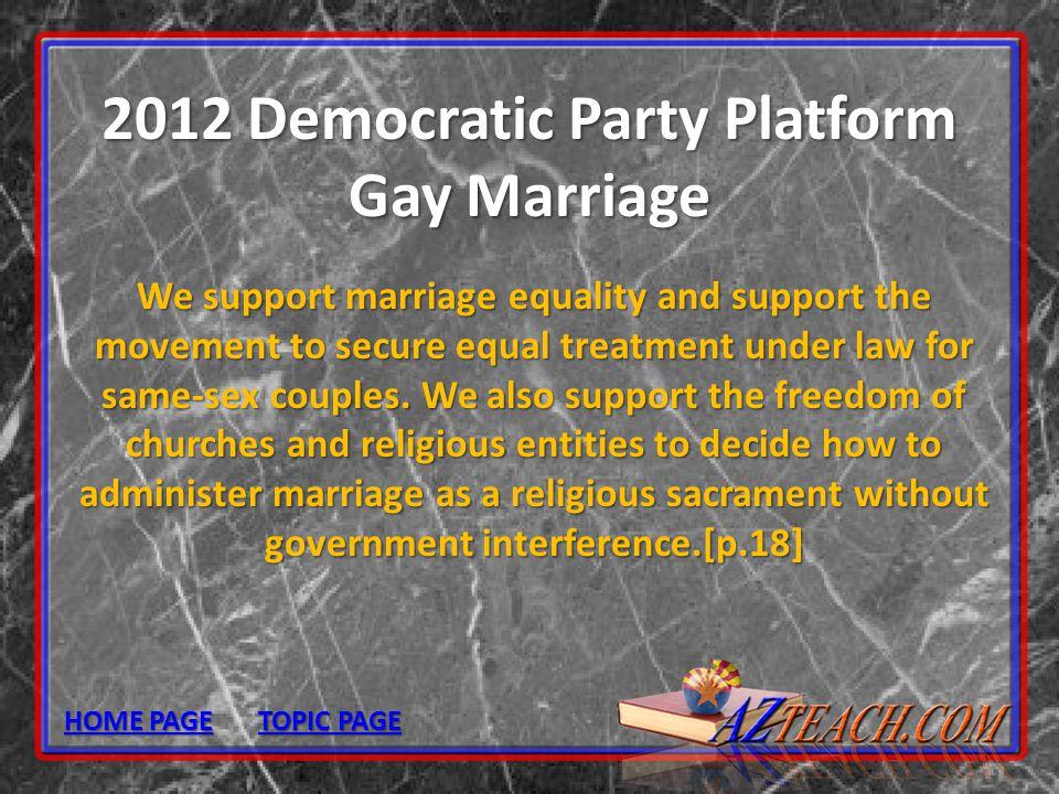 2012 Democratic Party Platform Gay Marriage