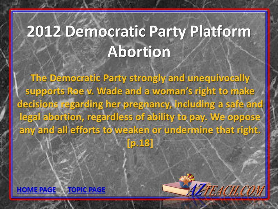 2012 Democratic Party Platform Abortion
