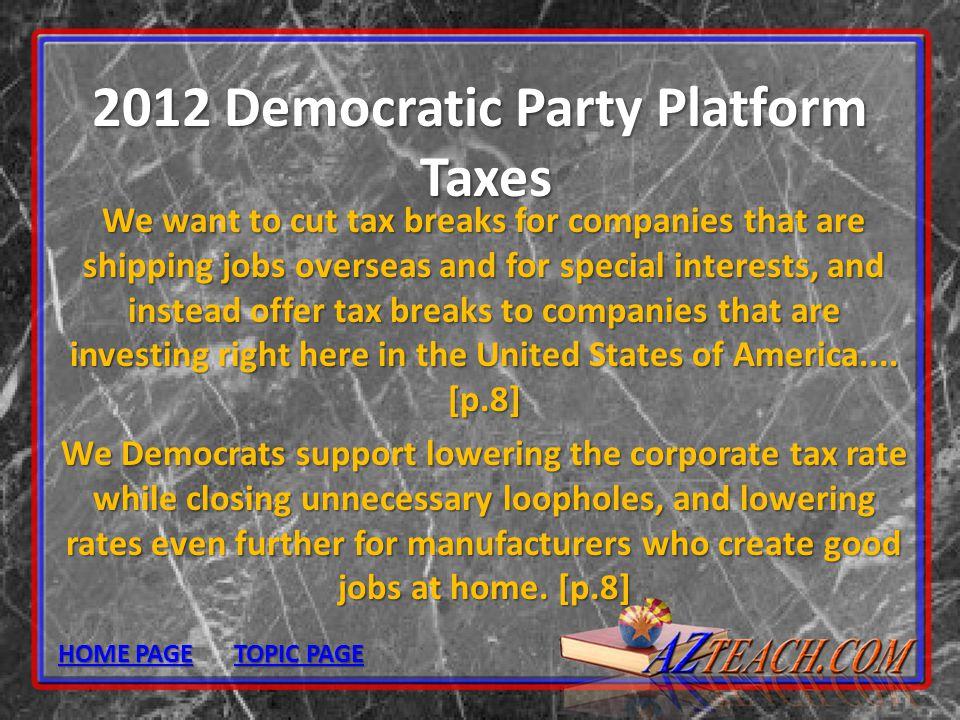 2012 Democratic Party Platform Taxes