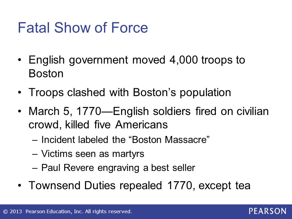 Fatal Show of Force English government moved 4,000 troops to Boston