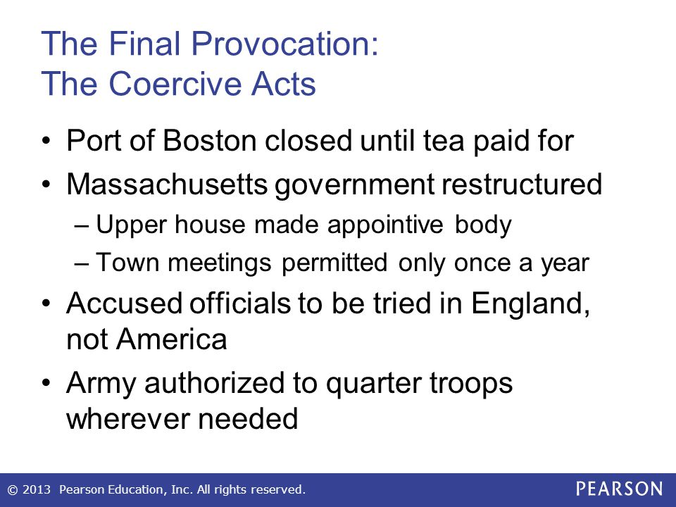 The Final Provocation: The Coercive Acts