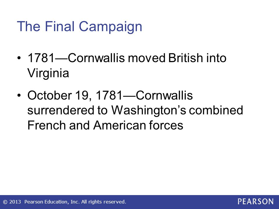 The Final Campaign 1781—Cornwallis moved British into Virginia