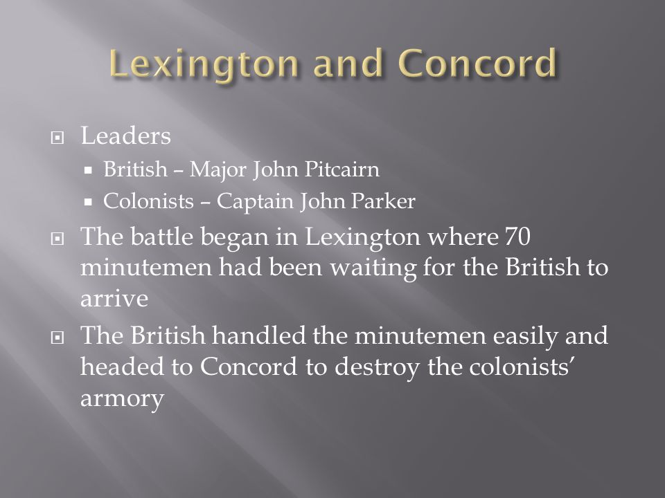 Lexington and Concord Leaders