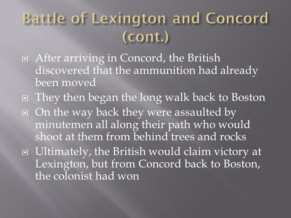 Battle of Lexington and Concord (cont.)