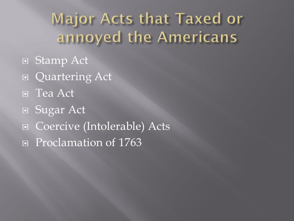 Major Acts that Taxed or annoyed the Americans