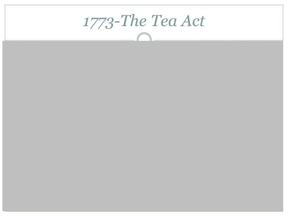 1773-The Tea Act British East India Co. Boston Tea Party