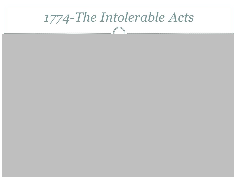 1774-The Intolerable Acts Sept 1774: First Continental Congress