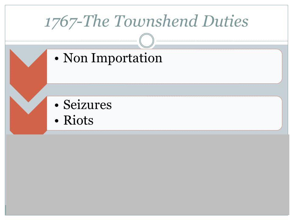 1767-The Townshend Duties Non Importation Seizures Riots 4,000 troops