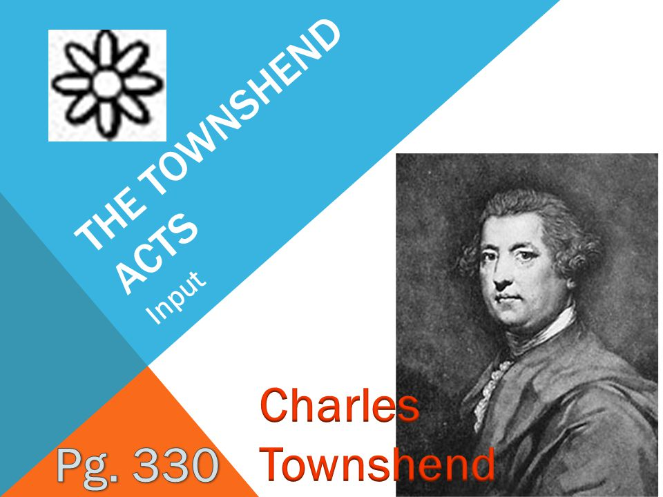The Townshend acts Input Charles Townshend Pg. 330
