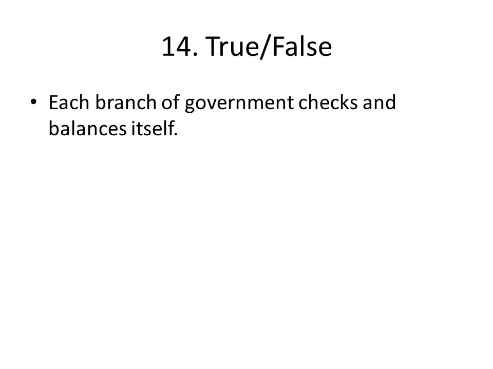 14. True/False Each branch of government checks and balances itself.
