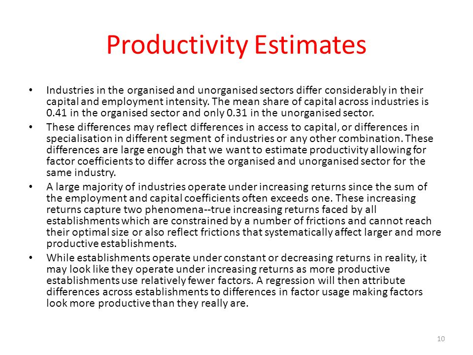 Productivity Estimates
