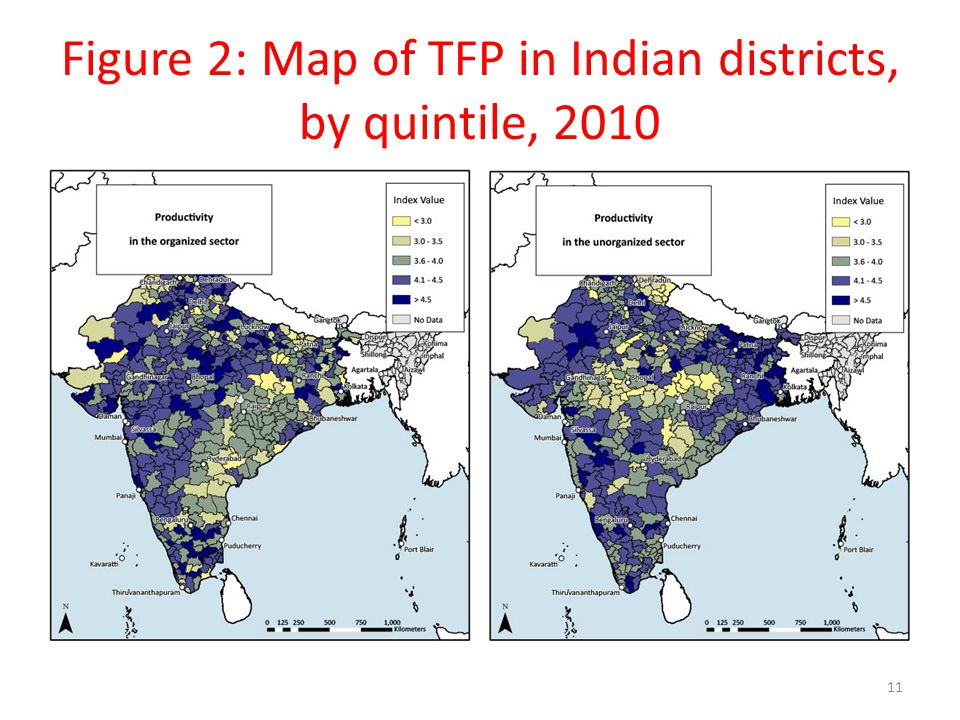 Figure 2: Map of TFP in Indian districts, by quintile, 2010