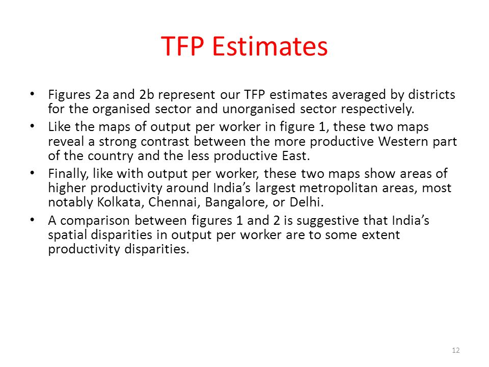 TFP Estimates Figures 2a and 2b represent our TFP estimates averaged by districts for the organised sector and unorganised sector respectively.