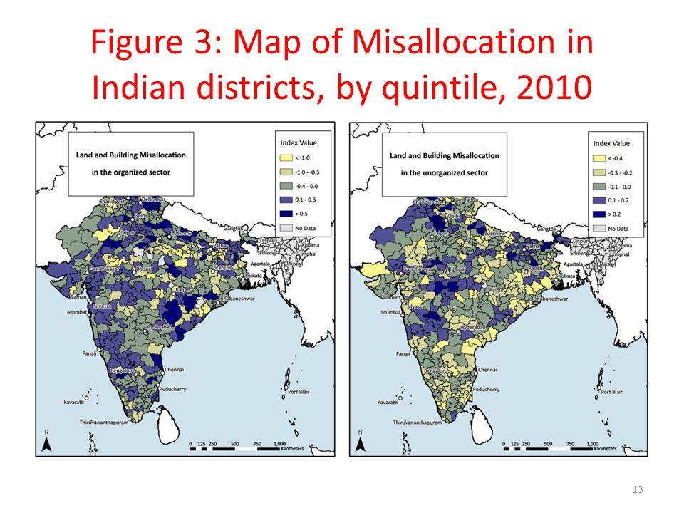 Figure 3: Map of Misallocation in Indian districts, by quintile, 2010