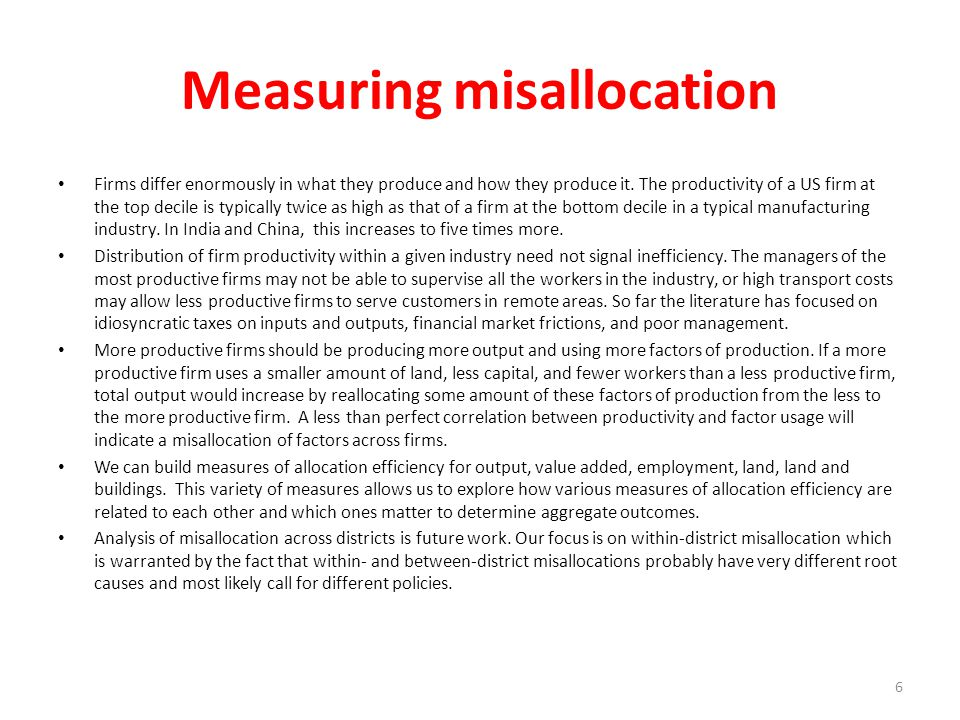 Measuring misallocation
