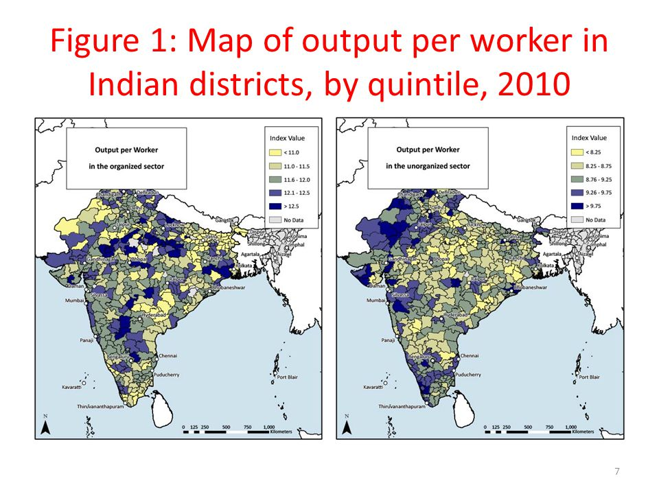 Figure 1: Map of output per worker in Indian districts, by quintile, 2010