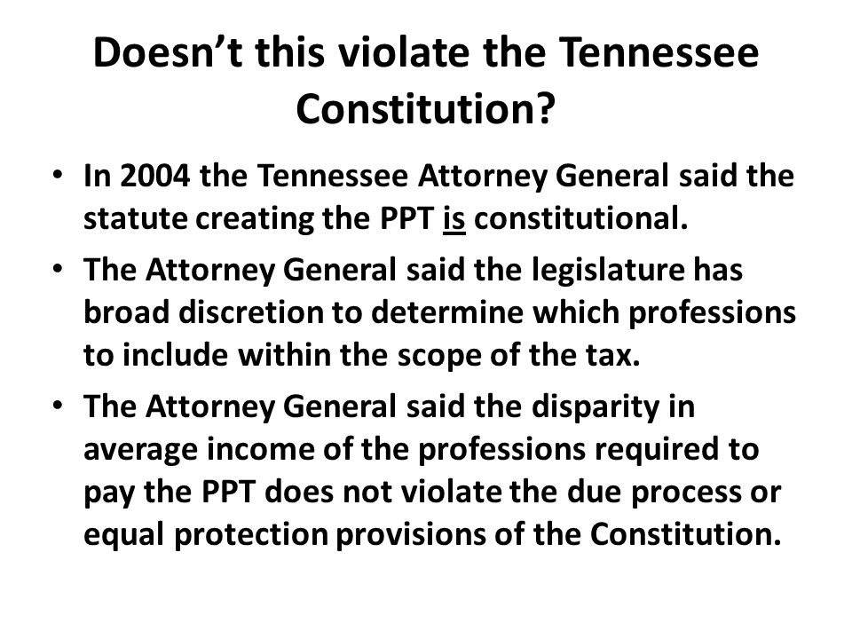 Doesn't this violate the Tennessee Constitution