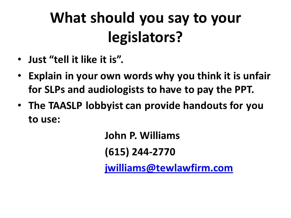 What should you say to your legislators