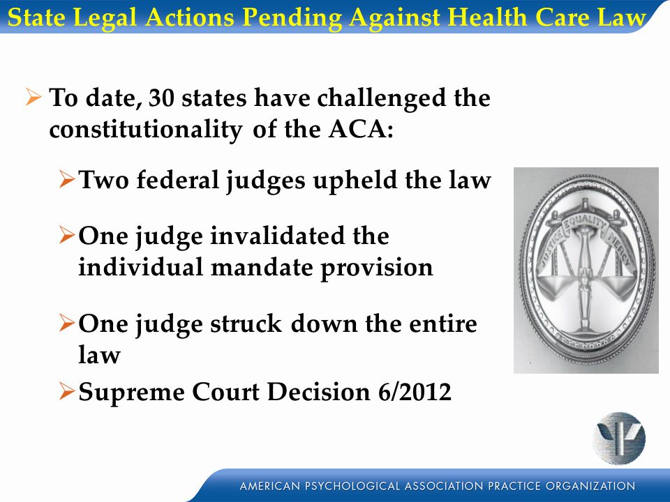 State Legal Actions Pending Against Health Care Law