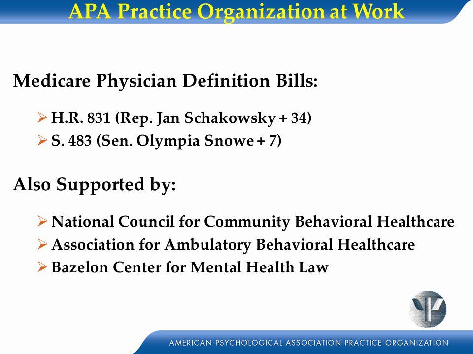 APA Practice Organization at Work