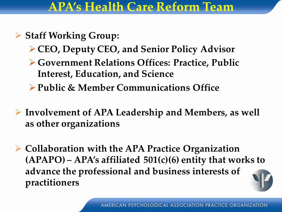 APA's Health Care Reform Team
