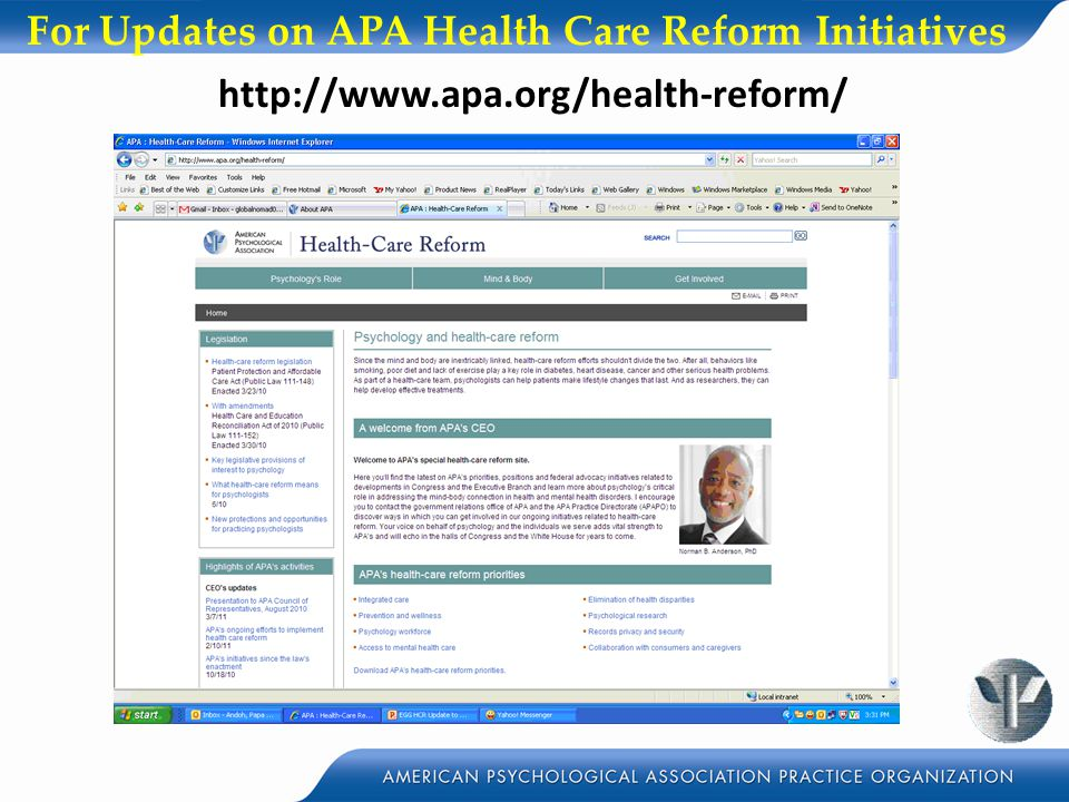 For Updates on APA Health Care Reform Initiatives