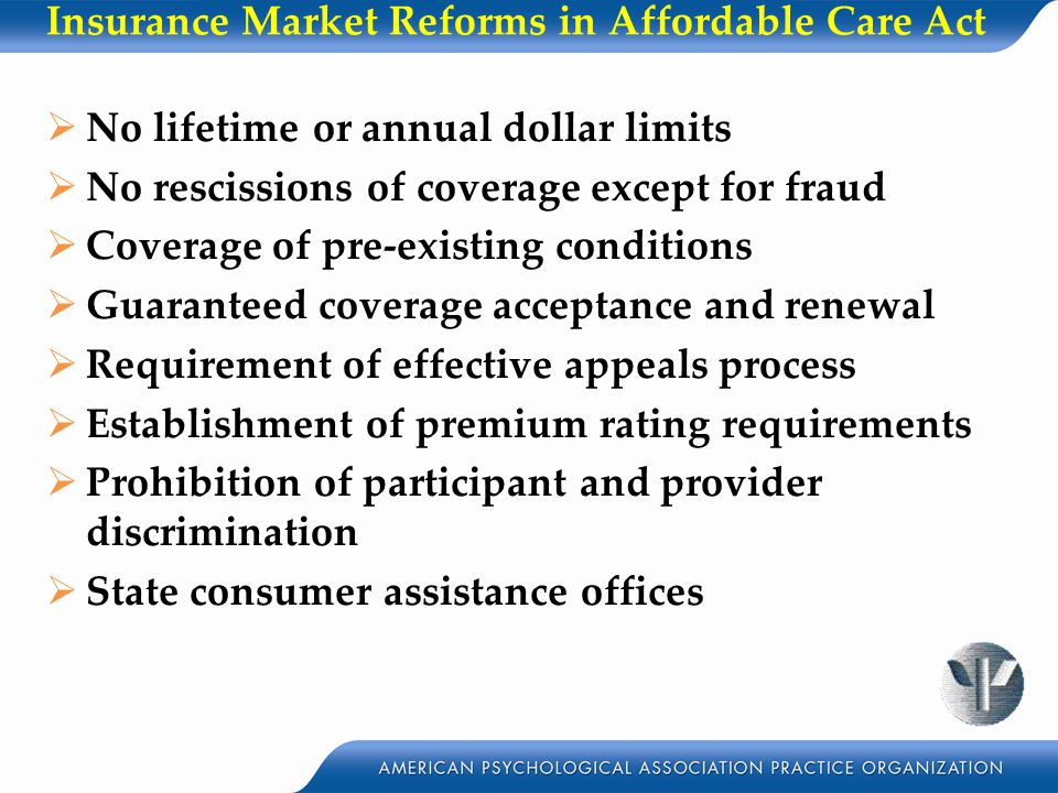 Insurance Market Reforms in Affordable Care Act