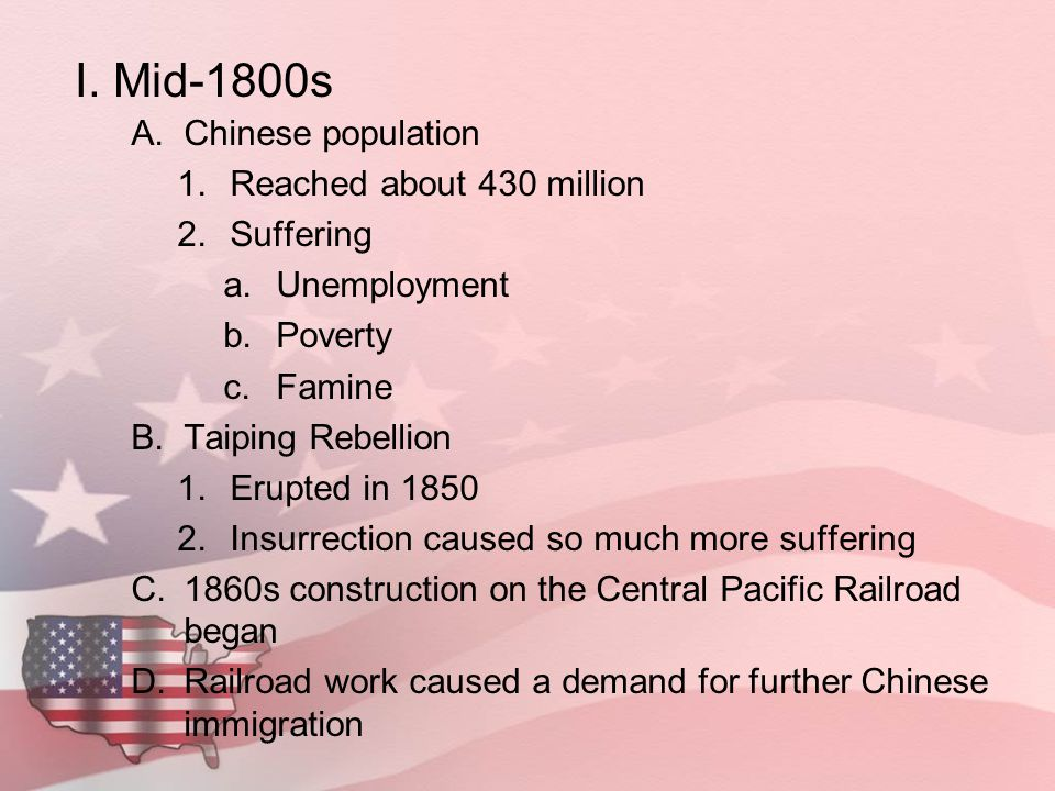 I. Mid-1800s Chinese population Reached about 430 million Suffering